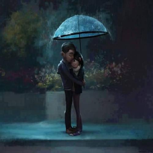 hug in rain photo